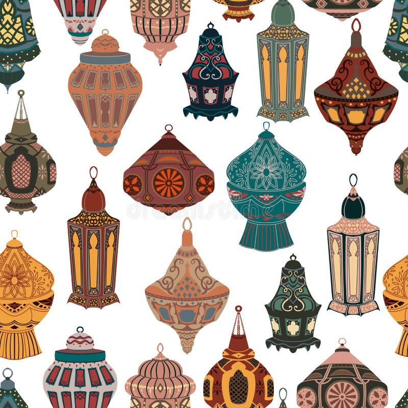 Sömlös modell med den arabiska lyktasamlingen Traditionella orientaliska lampor med den nationella blom- prydnaden vektor illustrationer