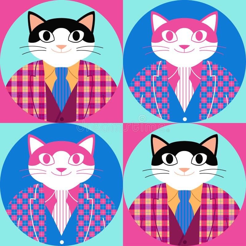Sömlös modell med den eleganta katten för tecknad film i kontrollerad omslag, väst och slips stock illustrationer