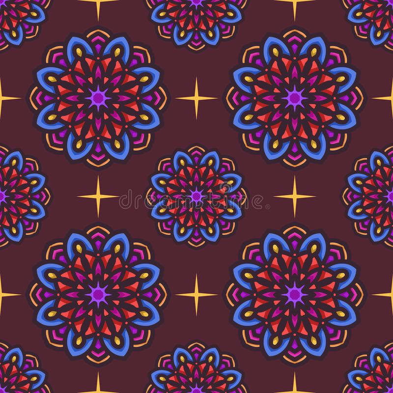 Sömlös modell med den etniska mandalakonstprydnaden S?ml?s modellbakgrund f?r Mandala Blom- mandalamodellbakgrund stock illustrationer