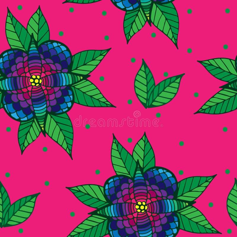 Sömlös modell med den färgrika blomman på den rosa bakgrunden royaltyfri illustrationer