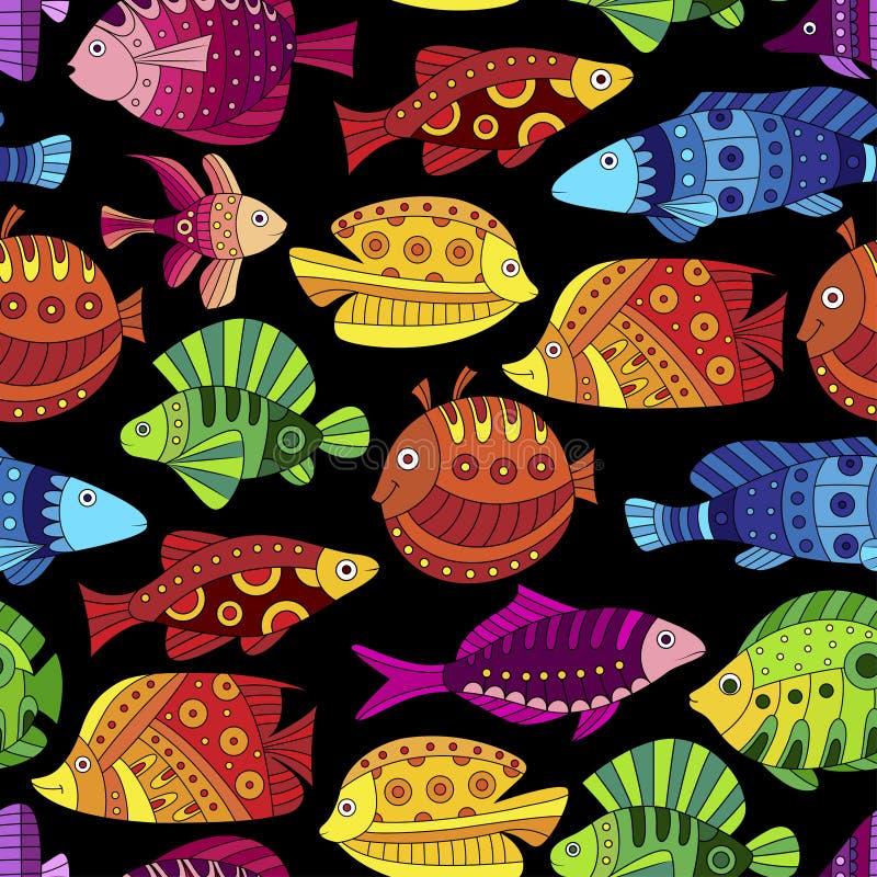 Sömlös modell med den färgrika tropiska fisken stock illustrationer