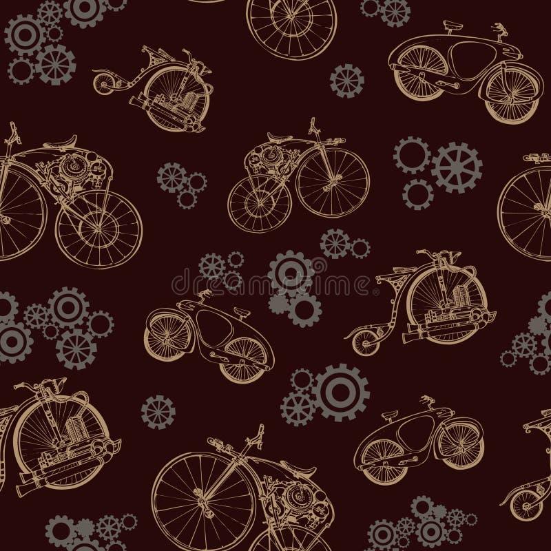 Sömlös modell med den gamla cykeln och kugghjul Steampunk stil stock illustrationer