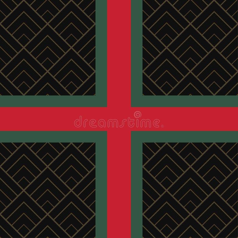Sömlös modell med den gröna och röda band- och diamanttegelplattan royaltyfri illustrationer