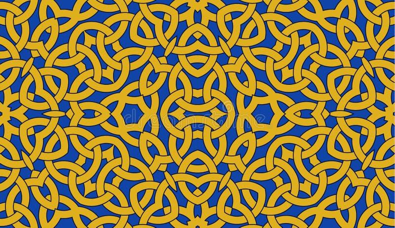 Sömlös modell med den guld- celtic fnurenprydnaden på blått, bakgrund royaltyfri illustrationer
