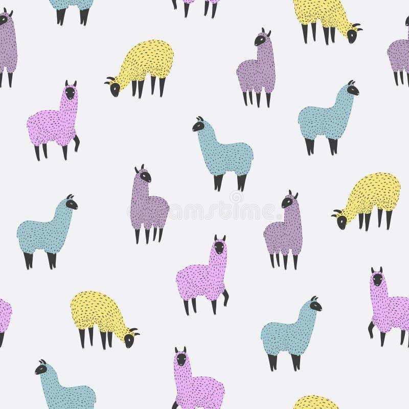 Sömlös modell med den gulliga färgrika laman stock illustrationer