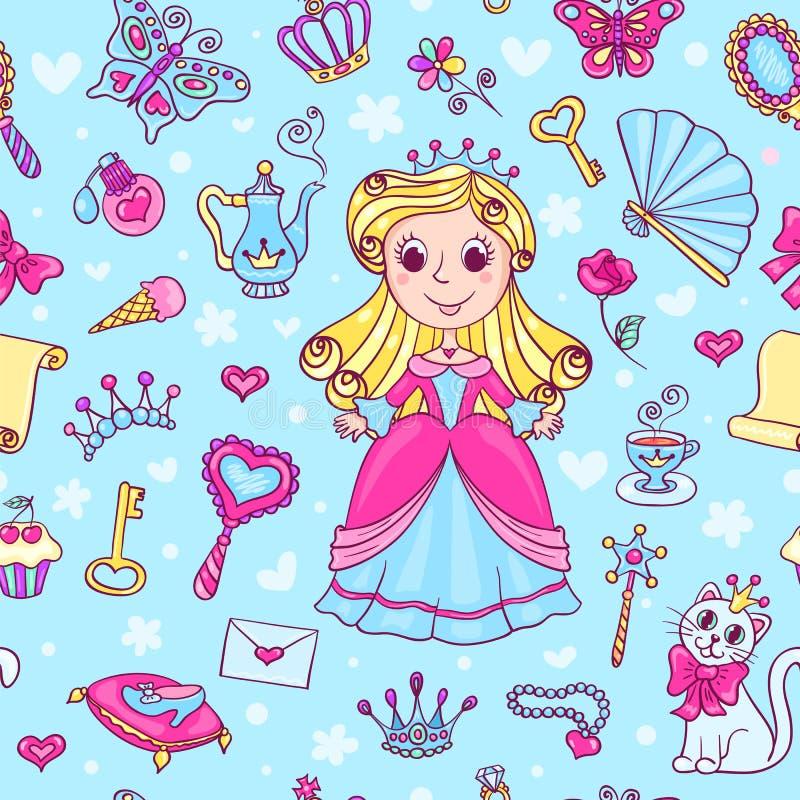 Sömlös modell med den gulliga lilla prinsessan i rosa färgerna stock illustrationer