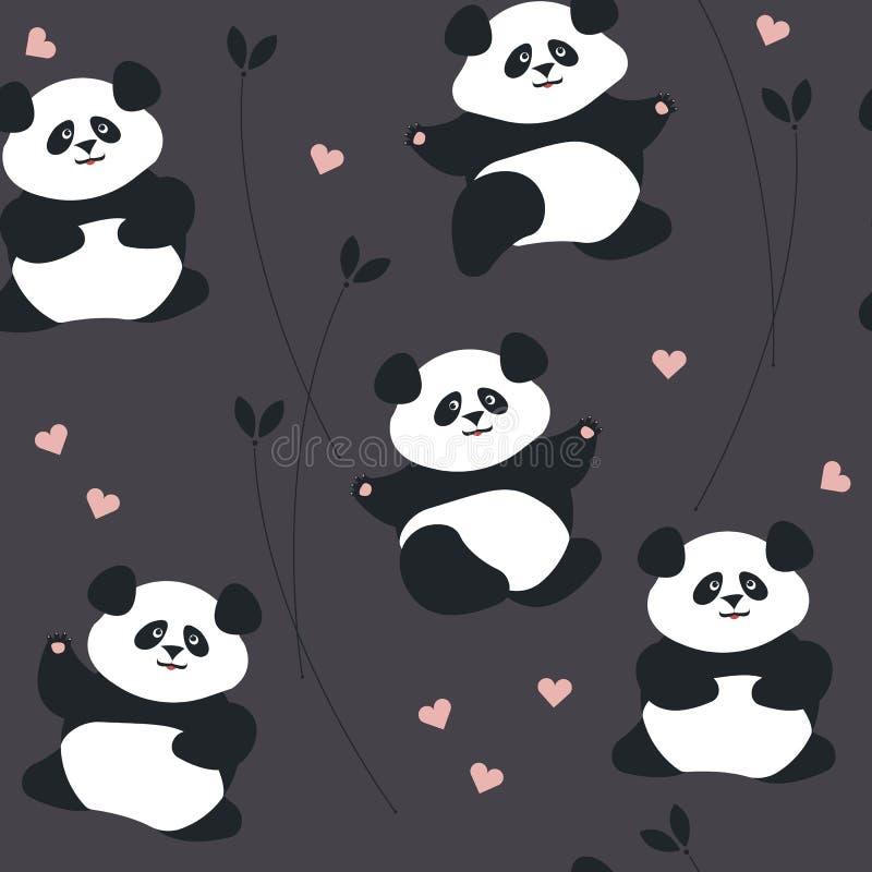 Sömlös modell med den gulliga pandan, hjärtor och växter vektor illustrationer