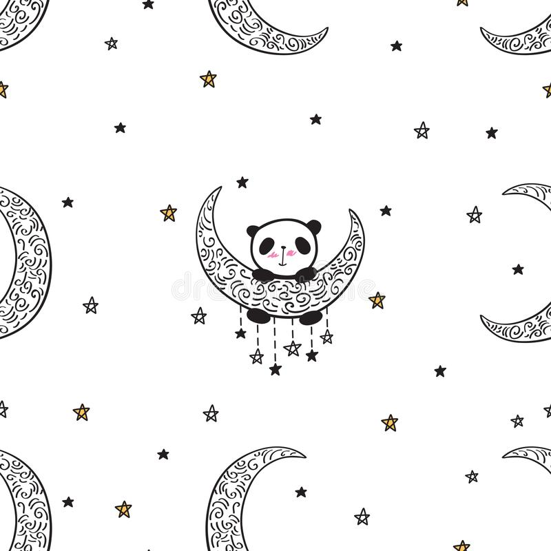Sömlös modell med den gulliga pandan på månen vektor illustrationer
