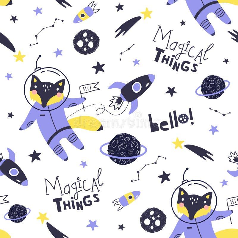 Sömlös modell med den gulliga rävastronautet, planeter, stjärnor och komet Utrymmebakgrund f?r ungar vektor royaltyfri illustrationer