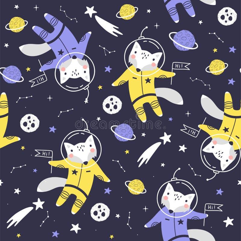 Sömlös modell med den gulliga rävastronautet, planeter, stjärnor och komet Utrymmebakgrund f?r ungar vektor vektor illustrationer