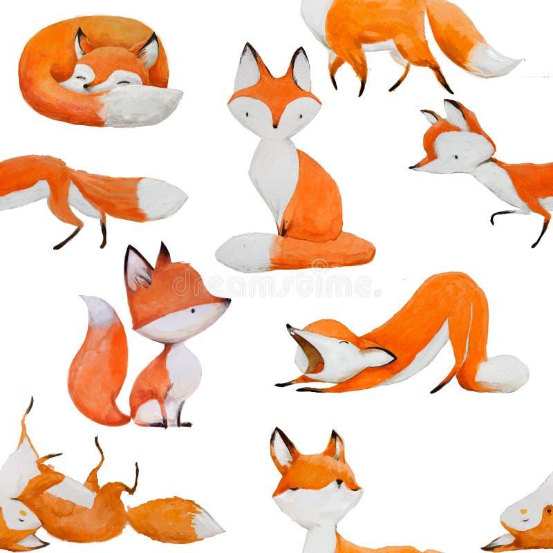 Sömlös modell med den gulliga räven stock illustrationer