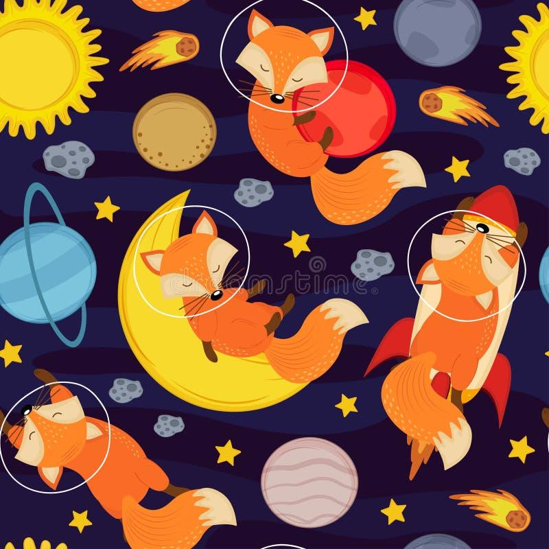 Sömlös modell med den gulliga räven i utrymme vektor illustrationer