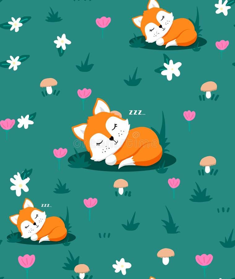 Sömlös modell med den gulliga sova räven och blommor, champinjoner, ört också vektor för coreldrawillustration royaltyfri illustrationer