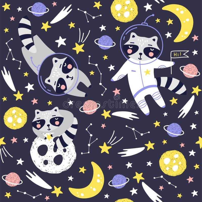 Sömlös modell med den gulliga tvättbjörnastronautet, planeter, stjärnor och komet Utrymmebakgrund f?r ungar vektor royaltyfri illustrationer