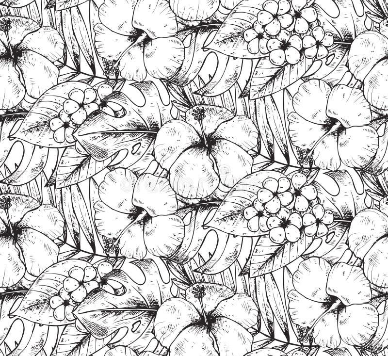 Sömlös modell med den hand drog tropiska växter och blomman royaltyfri illustrationer