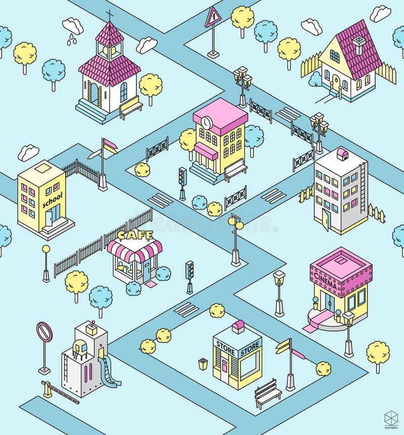 Sömlös modell med den isometriska staden stock illustrationer
