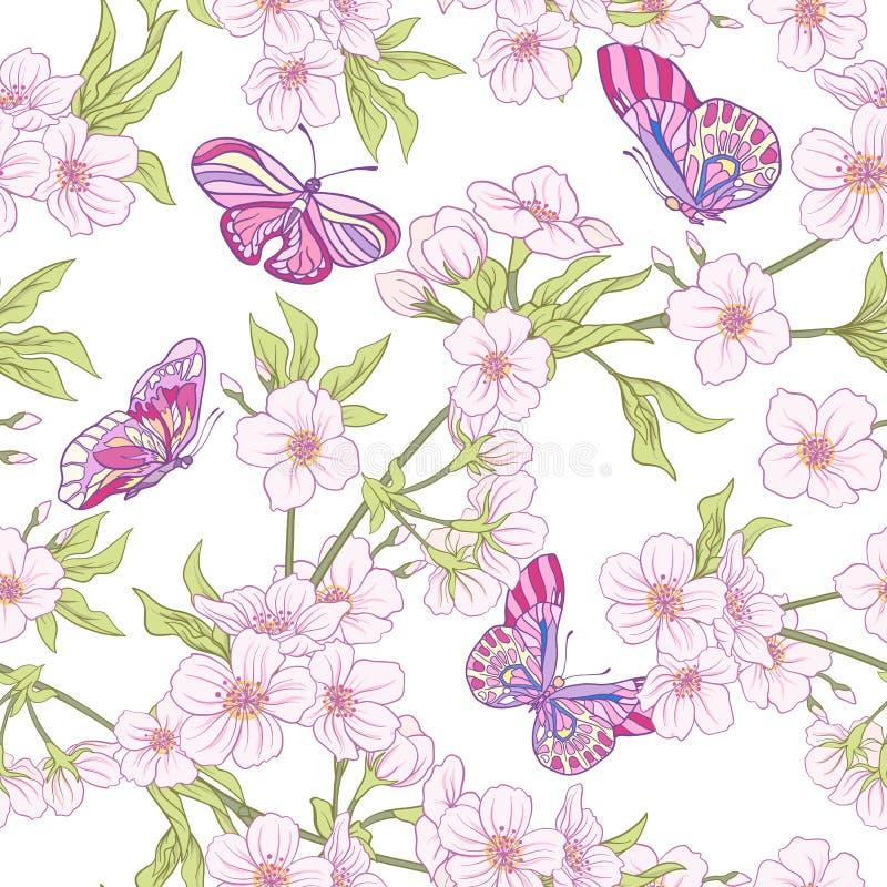 Sömlös modell med den japanska blomningen sakura och fjärilar V royaltyfri illustrationer