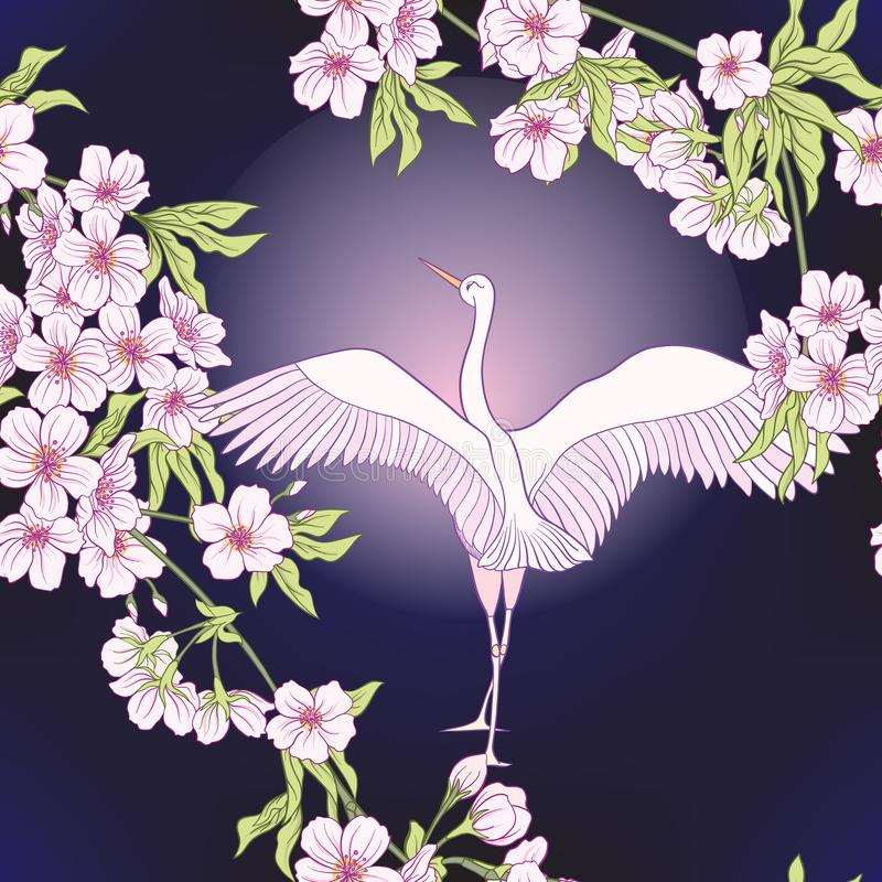 Sömlös modell med den japanska blomningen sakura och kranen, fågel vektor illustrationer