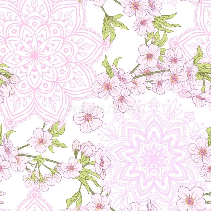 Sömlös modell med den japanska blomningen sakura Vektormaterielillu vektor illustrationer