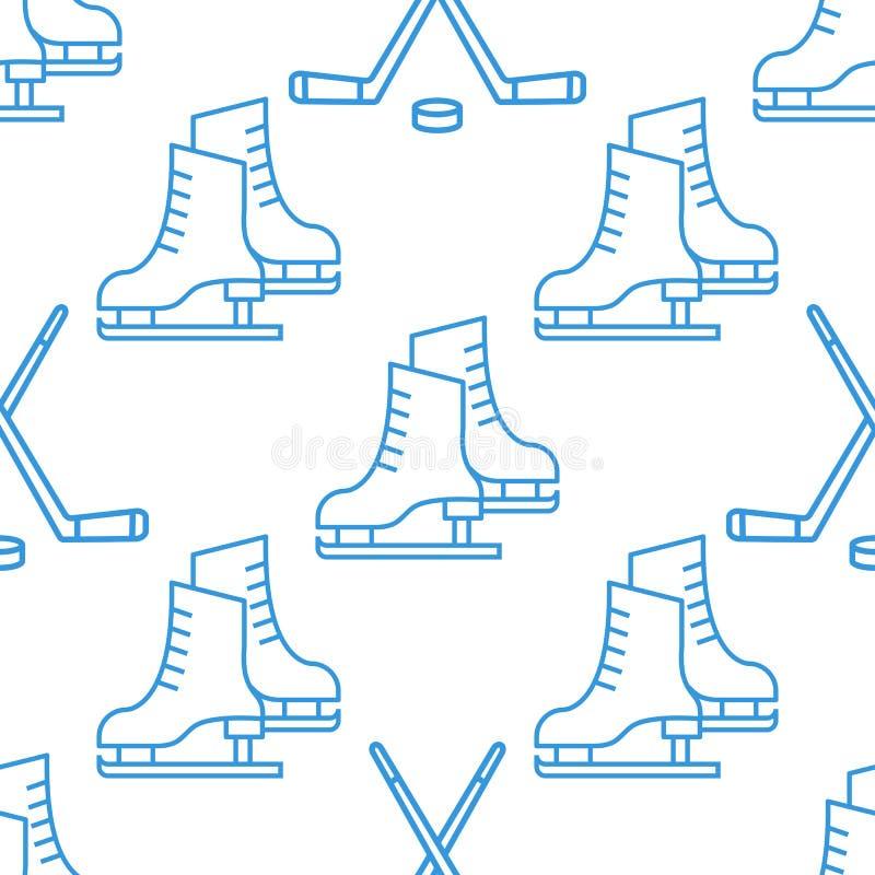 Sömlös modell med den linjära symbolen för skridskor och för klubbor stock illustrationer
