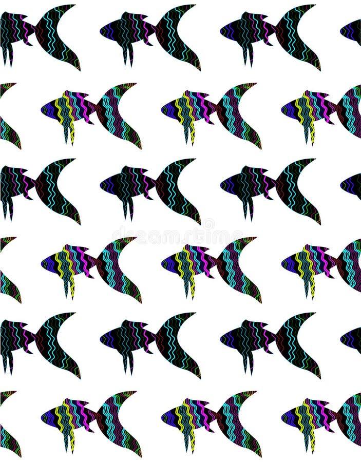 Sömlös modell med den ljusa fisken på den vita bakgrunden royaltyfri illustrationer