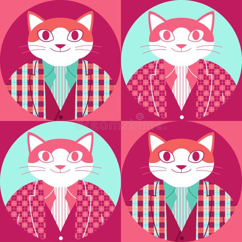 Sömlös modell med den lyckliga katten i tartanomslag, väst och slips vektor illustrationer