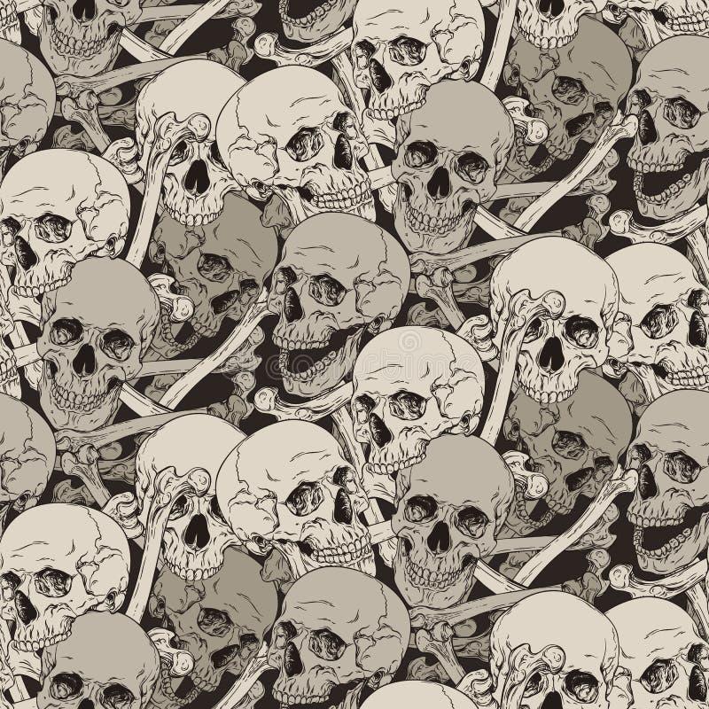 Sömlös modell med den mänskliga skalle- och benillustrationen royaltyfri illustrationer