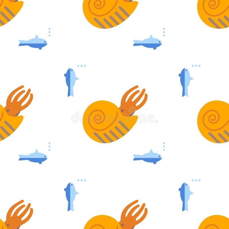 Sömlös modell med den plana stilsymbolen av ammoniten Bakgrund med forntida skaldjur för olik design royaltyfri illustrationer