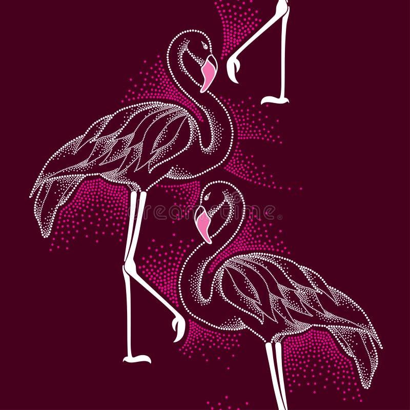 Sömlös modell med den prickiga flamingo i vit på den mörka bakgrunden vektor illustrationer