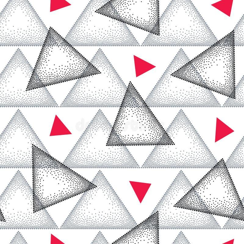 Sömlös modell med den prickiga triangeln i svart, grått och rött på den vita bakgrunden Abstrakt triangelbakgrund för vektor royaltyfri illustrationer