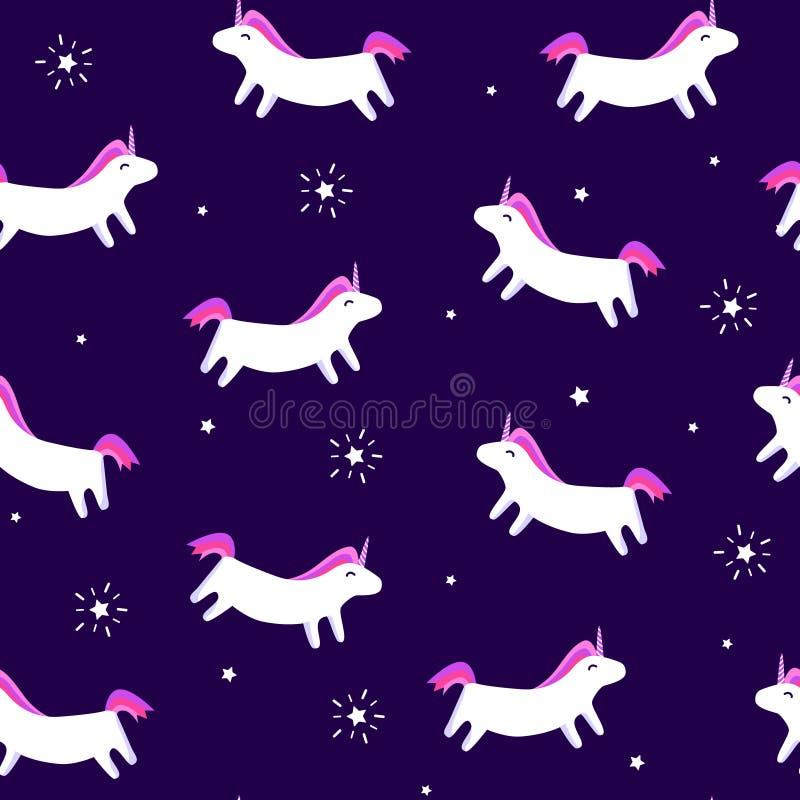 Sömlös modell med den roliga enhörningen och stjärnor med strålar på violett bakgrund Prydnad för glad jul för textil och inpackn vektor illustrationer