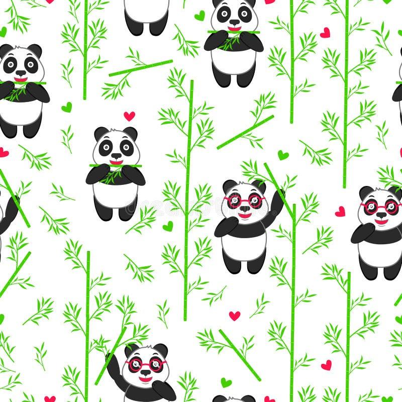 Sömlös modell med den roliga pandan och bambu stock illustrationer