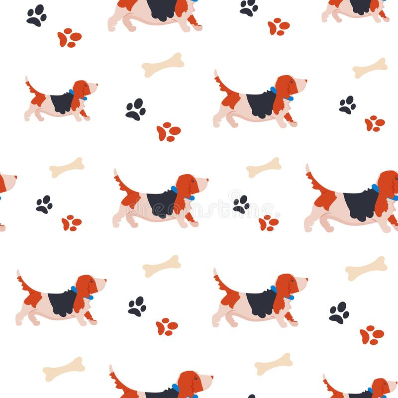 Sömlös modell med den roliga tecknad filmbassethunden för olik design Bakgrund med den gulliga familjhunden vektor illustrationer