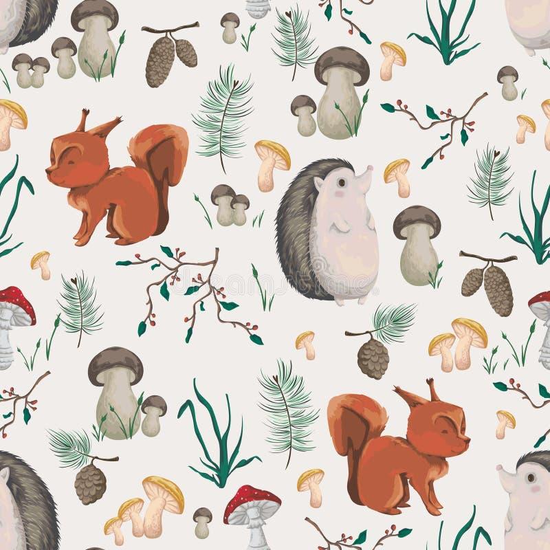 Sömlös modell med den små ekorren, igelkotten, växter och champinjoner Design i vattenfärgstil för baby showerpartiet, wallpape stock illustrationer