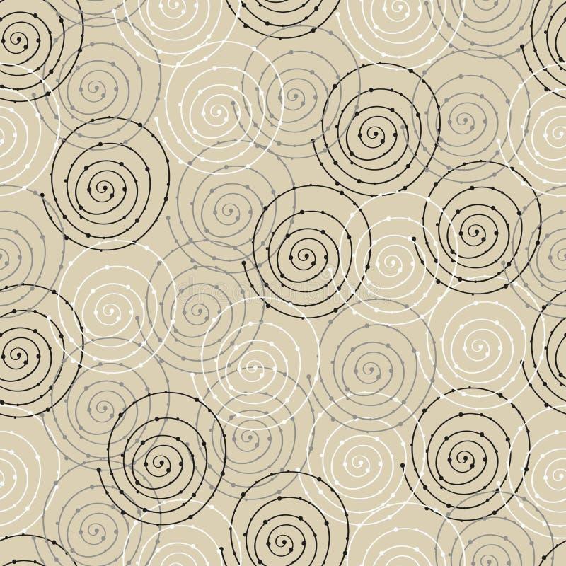 Sömlös modell med den spiral cirkeln stock illustrationer