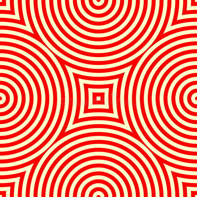 Sömlös modell med den symmetriska geometriska prydnaden För vitabstrakt begrepp för kalejdoskop röd bakgrund vektor illustrationer