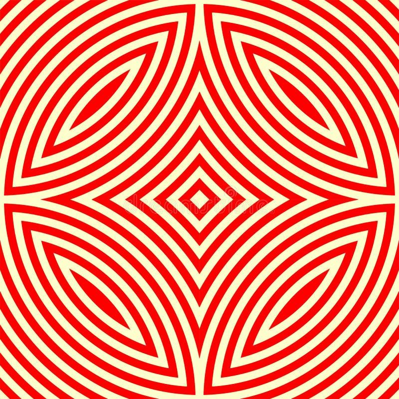 Sömlös modell med den symmetriska geometriska prydnaden För vitabstrakt begrepp för kalejdoskop röd bakgrund stock illustrationer