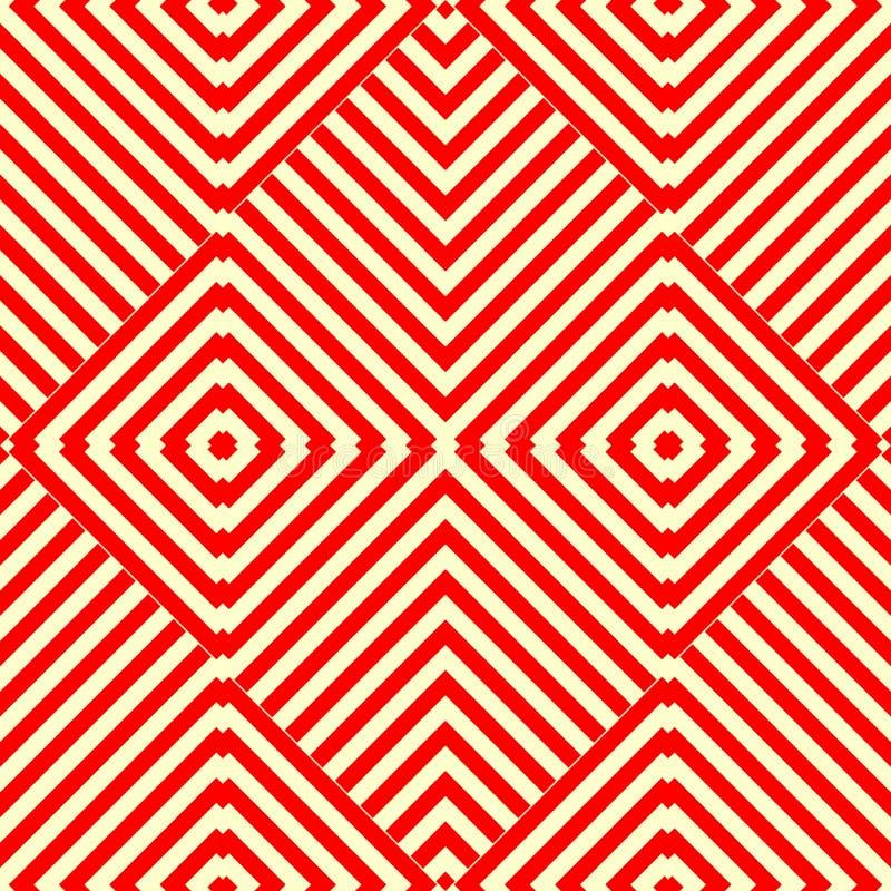 Sömlös modell med den symmetriska geometriska prydnaden Randig röd vitabstrakt begreppbakgrund stock illustrationer