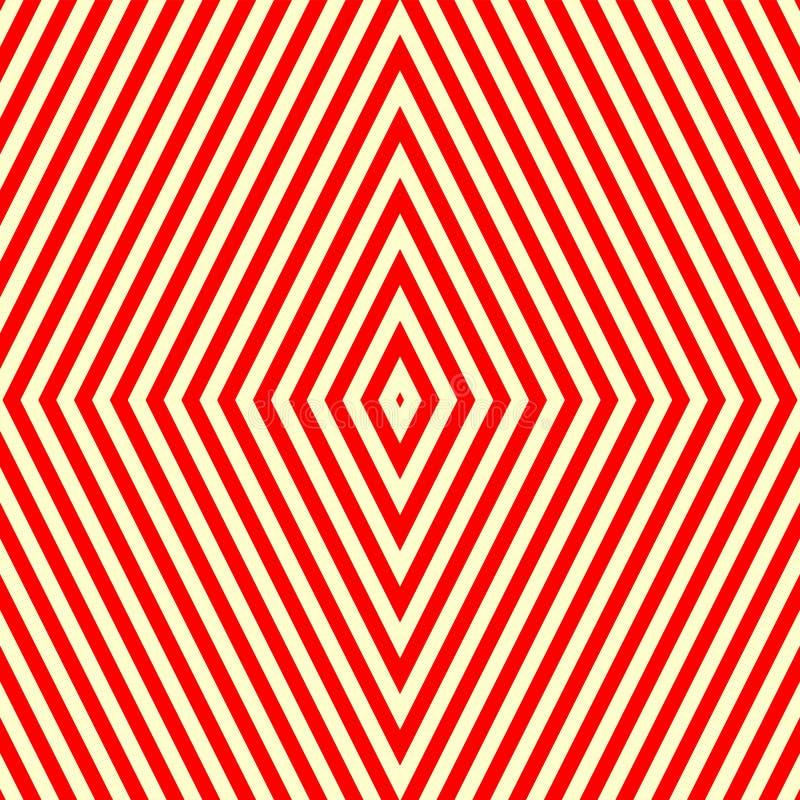 Sömlös modell med den symmetriska geometriska prydnaden Randig röd vitabstrakt begreppbakgrund royaltyfri illustrationer