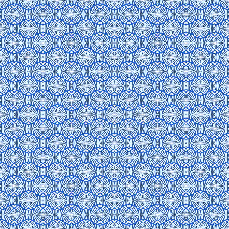 Sömlös modell med den symmetriska prydnaden Olika vitdiagram abstrakt begrepp på blå bakgrund Etniskt motiv royaltyfri illustrationer