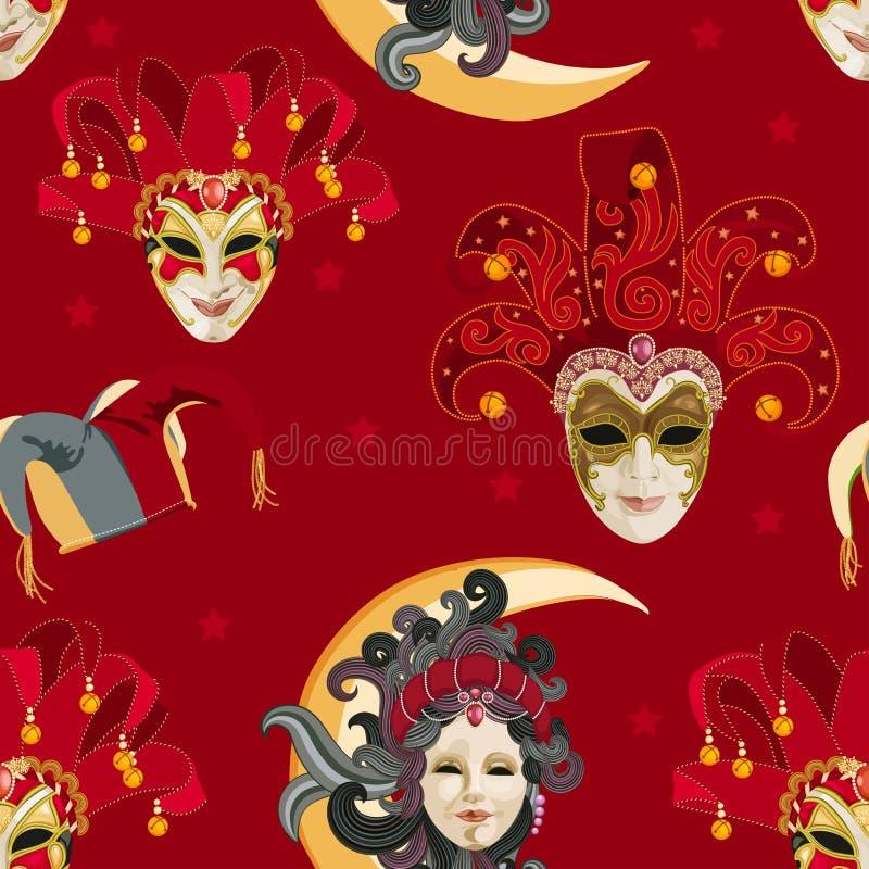 Sömlös modell med den venetian färgrika maskeringen för karneval på traditionell bakgrund stock illustrationer