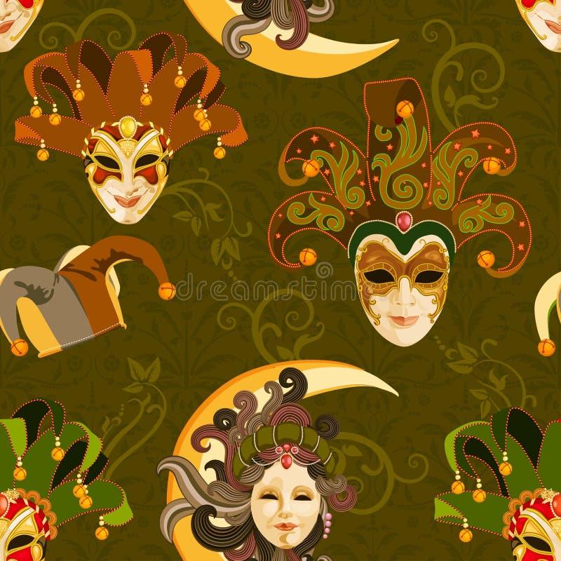 Sömlös modell med den venetian färgrika maskeringen för karneval på traditionell bakgrund royaltyfri illustrationer