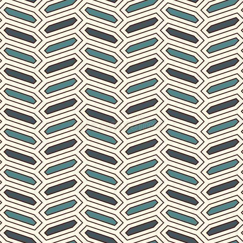 Sömlös modell med den vertikala flätad trådprydnaden Oktogontegelplattabakgrund Fiskbensmönstermotiv geometrisk wallpaper stock illustrationer