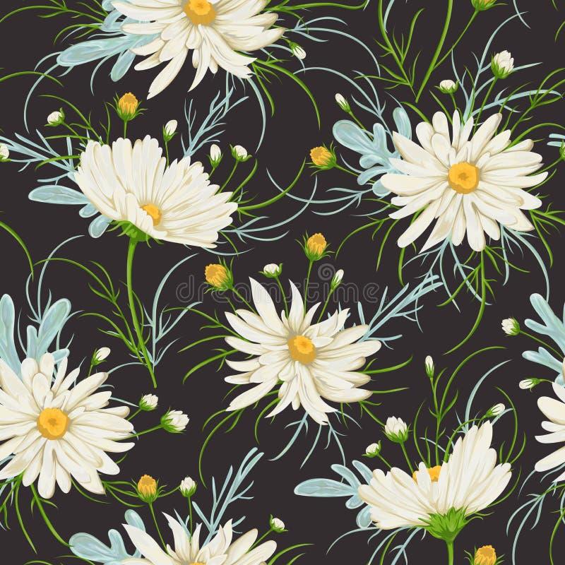 Sömlös modell med den vita kamomillblommor och malörten Lantlig blom- bakgrund royaltyfri illustrationer
