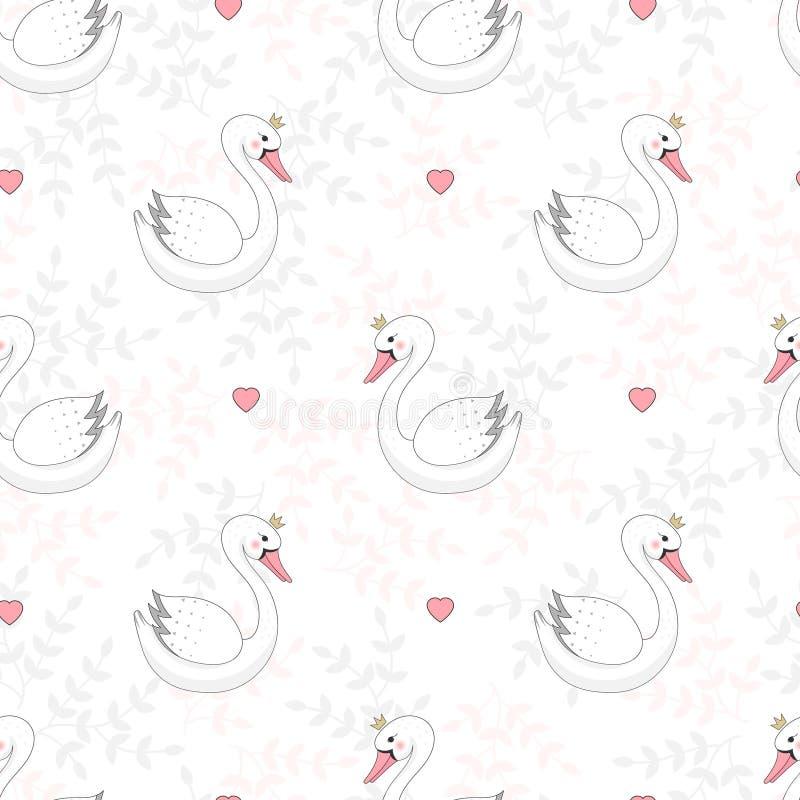 Sömlös modell med den vita svanen stock illustrationer