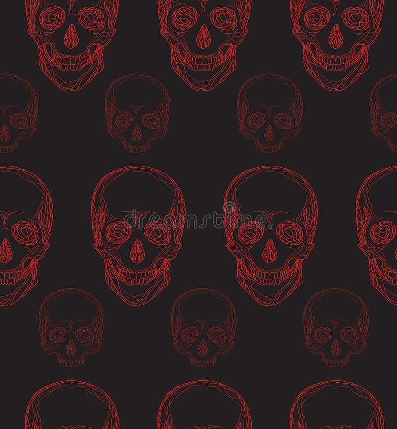 Sömlös modell med dendrog röda skallen stock illustrationer
