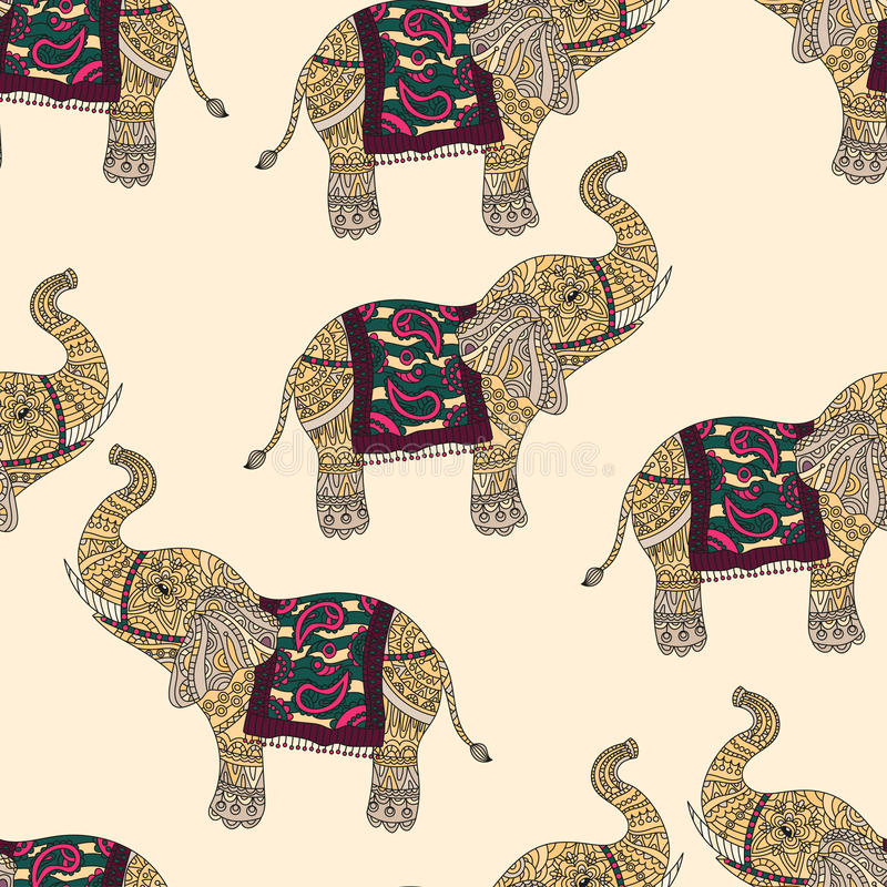 Sömlös modell med dendrog stam- utformade elefanten stock illustrationer
