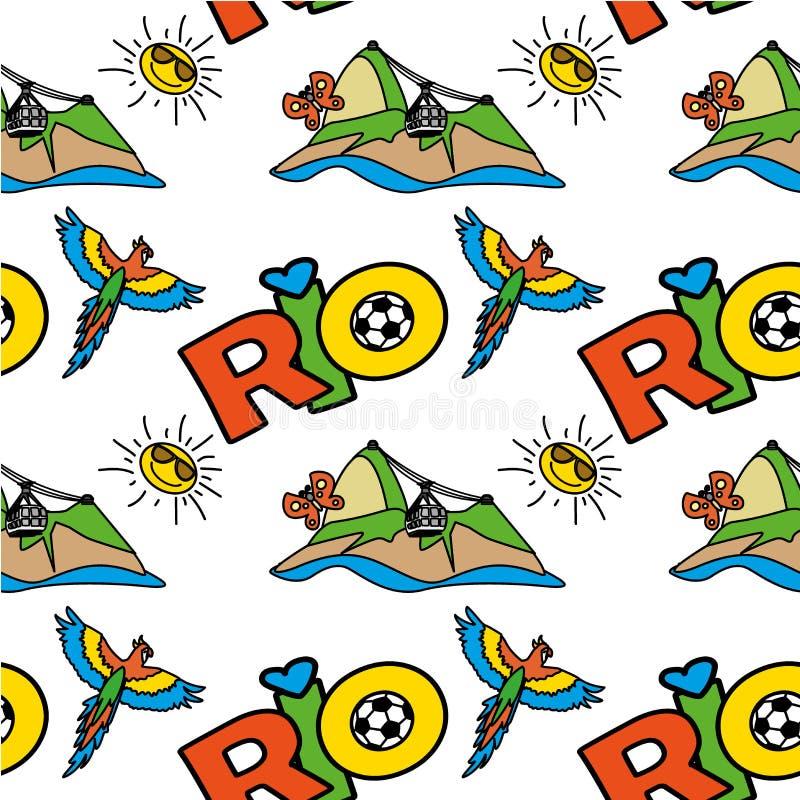 Sömlös modell med det inskriftRio de Janeiro, berget och papegojan stock illustrationer
