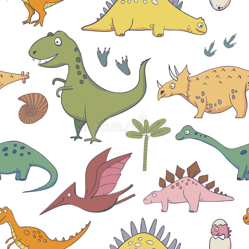 Sömlös modell med dinosaurier - illustrationer av dinosaurier i stilen av tecknade filmen stock illustrationer
