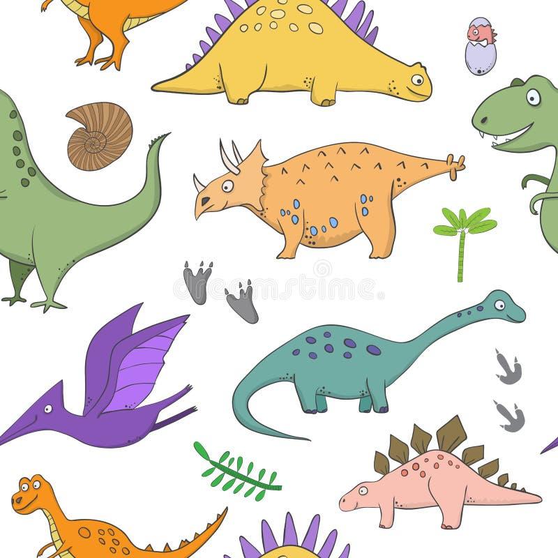 Sömlös modell med dinosaurier - illustrationer av dinosaurier i stilen av tecknade filmen vektor illustrationer